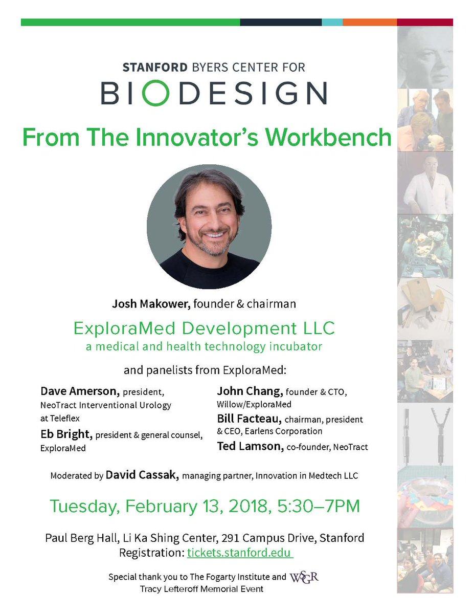 From the Innovator's Workbench @ Berg Hall, Li Ka Shing Center, 291 Campus Drive, Stanford